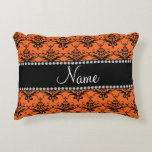 Personalized name orange black damask accent pillow