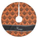 Personalized name orange black damask brushed polyester tree skirt