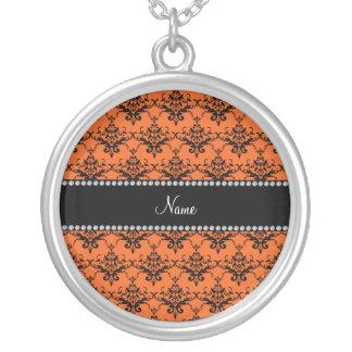 Personalized name Orange black damask Necklace