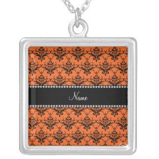 Personalized name Orange black damask Custom Jewelry