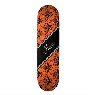 Personalized name orange black damask skate board deck