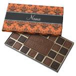 Personalized name orange black damask 45 piece box of chocolates