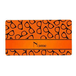 Personalized name orange black glasses shipping label