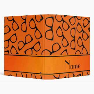 Personalized name orange black glasses vinyl binder