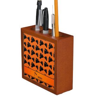 Personalized name orange black motorcycle racing pencil holder