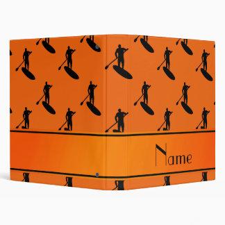 Personalized name orange black paddleboarding binder