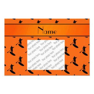 Personalized name orange black paddleboarding photo print