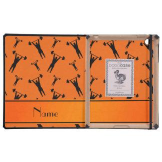 Personalized name orange black weightlifting iPad cases