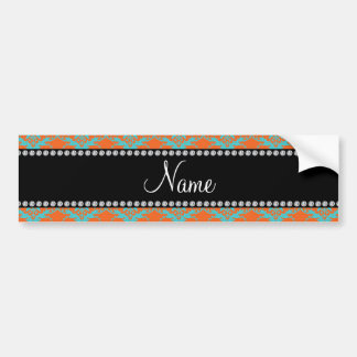 Personalized name Orange blue damask Car Bumper Sticker