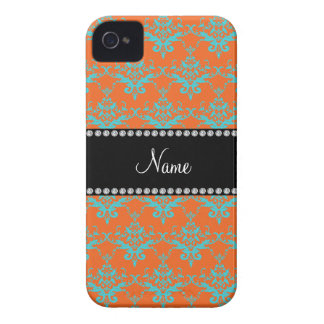 Personalized name Orange blue damask iPhone 4 Cover