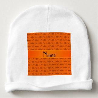 Personalized name orange bluefin tuna pattern baby beanie