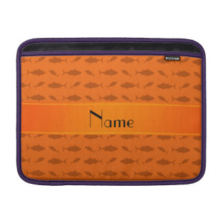 Personalized name orange bluefin tuna pattern sleeves for MacBook air