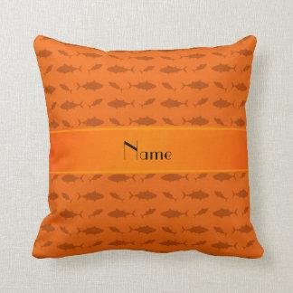 Personalized name orange bluefin tuna pattern throw pillow