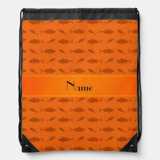 Personalized name orange bluefin tuna pattern drawstring backpack