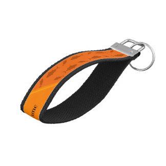 Personalized name orange bluefin tuna pattern wrist keychain