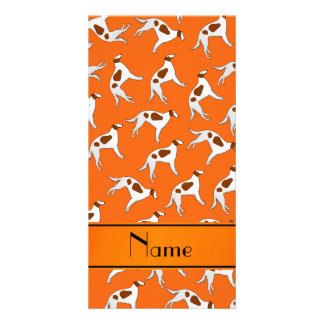 Personalized name orange borzoi dog pattern photo card