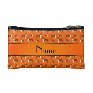Personalized name orange boston terrier cosmetics bags