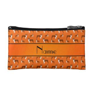 Personalized name orange boston terrier makeup bag