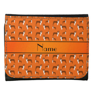 Personalized name orange boston terrier leather wallets