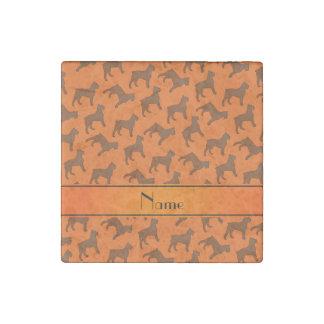 Personalized name orange Bouvier des Flandres dogs Stone Magnet