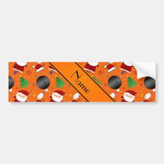 Personalized name orange bowling christmas pattern car bumper sticker