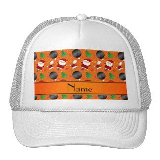 Personalized name orange bowling christmas pattern trucker hat