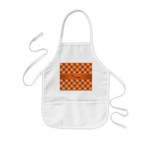 Personalized name orange bowling pattern aprons