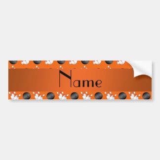 Personalized name orange bowling pattern car bumper sticker
