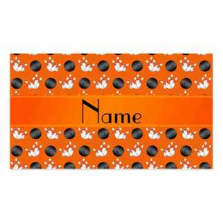 Personalized name orange bowling pattern business card