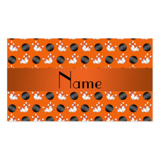 Personalized name orange bowling pattern business card templates
