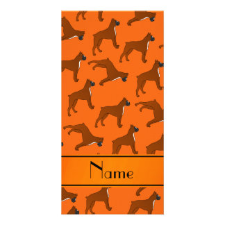Personalized name orange boxer dog pattern photo card