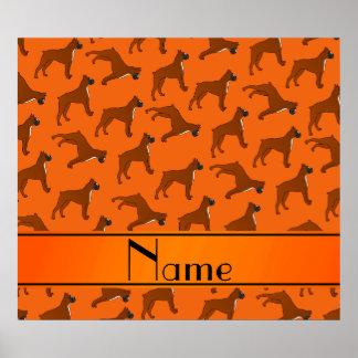 Personalized name orange boxer dog pattern poster