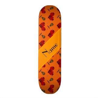 Personalized name orange boxing pattern skateboard