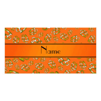 Personalized name orange brass knuckles photo card