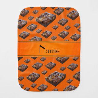 Personalized name orange brownies burp cloths