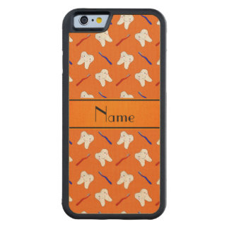 Personalized name orange brushes and tooth pattern carved maple iPhone 6 bumper case