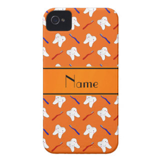 Personalized name orange brushes and tooth pattern iPhone 4 covers