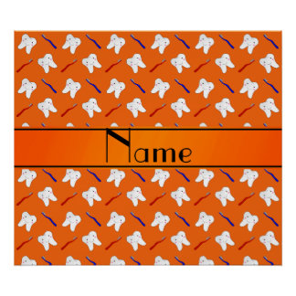 Personalized name orange brushes and tooth pattern poster