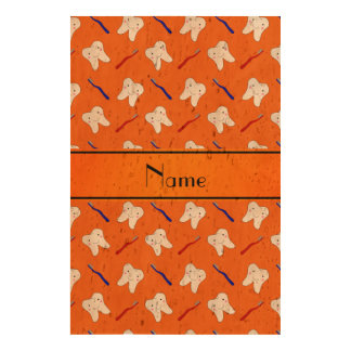 Personalized name orange brushes and tooth pattern photo cork paper