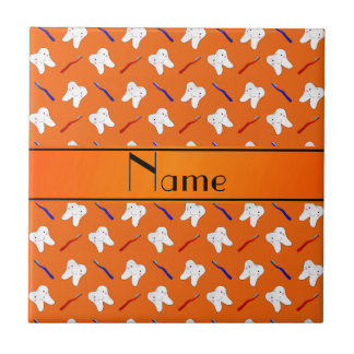 Personalized name orange brushes and tooth pattern small square tile