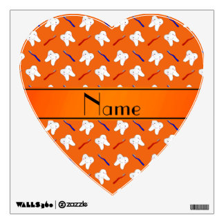 Personalized name orange brushes and tooth pattern room graphics