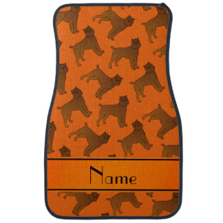 Personalized name orange brussels griffon dogs car floor mat