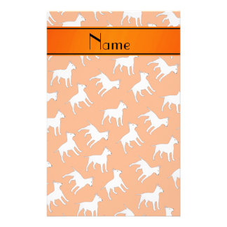 Personalized name orange bull terrier dogs stationery