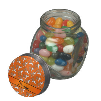 Personalized name orange Bulldog Glass Jars