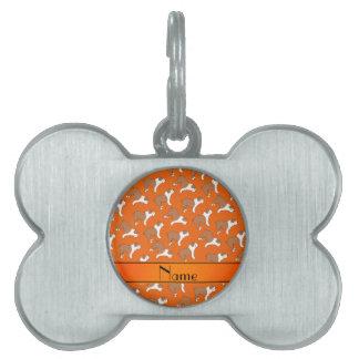 Personalized name orange Bulldog Pet Name Tags