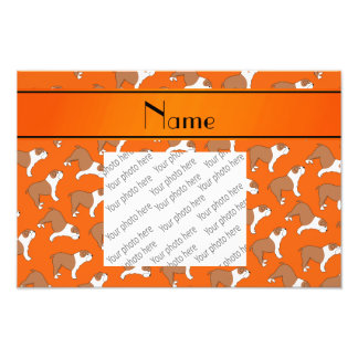 Personalized name orange Bulldog Photo Print