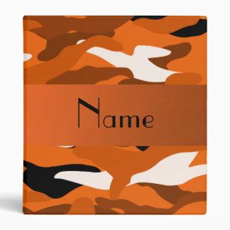 Personalized name orange camouflage binder