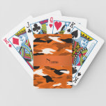 Personalized name orange camouflage card deck
