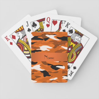 Personalized name orange camouflage orange stripe playing cards