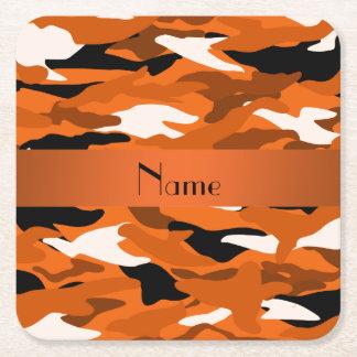 Personalized name orange camouflage orange stripe square paper coaster